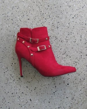 Zipper Booties red-gold-colored