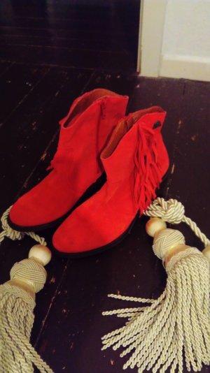rote Stiefeletten mit Fransen - echt leder