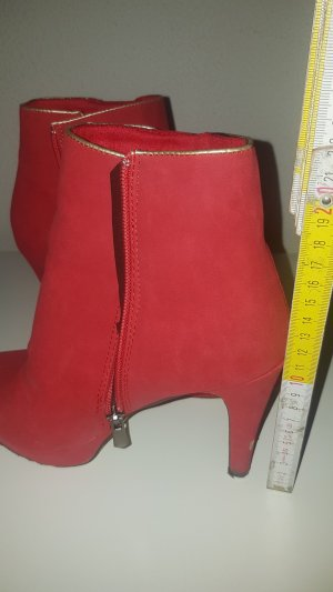 b.p.c. Bonprix Collection Zipper Booties sand brown-bright red imitation leather