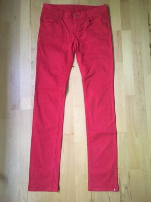 Rote Stoffhose Five Pocket Slim gerader Schnitt