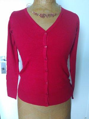 Rote Strickjacke mit Wolle Kaschmir und Seide