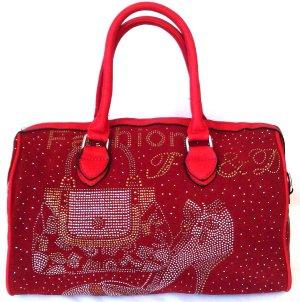 Rote Tasche, Budget Bag, Bowlin Bag mit Bling, Rockabilly,