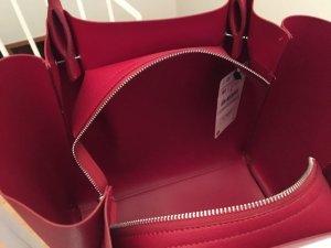 Zara Sac à main rouge faux cuir