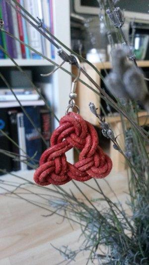 Rote Triangel Lederohrringe Handmade