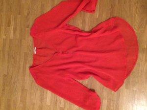 rote Tunika Bluse mit 3/4 Arm und leicht durchsichtig