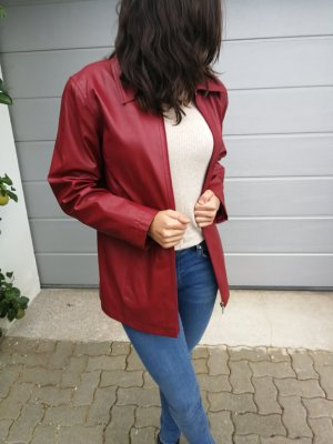 Faux Leather Jacket red