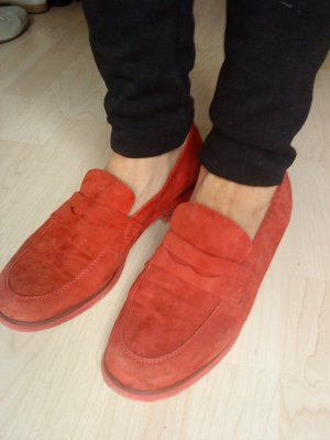 rote Velourleder - Slipper made in Italy Größe 40