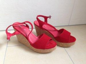 Pieces Plateauzool sandalen rood
