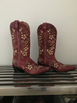 Western Boots dark red-natural white leather