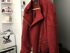 Rote Wildleder / Bikerjacke Zara