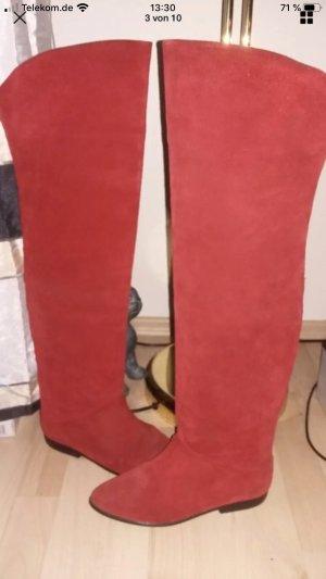 Overknees dark red leather