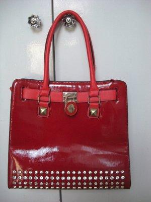 Rote XXL Bag mit Strass und Schloß  Extravagantes Design  Neu