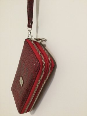 Roter Clutch Portemonnaie 9x10cm Reptile-Look