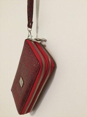 Roter Clutch Portemonnaie 9x10cm Reptile-Look Brieftasche Mini Handtasche