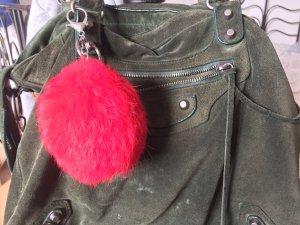Roter Echtfell Bommel Schlüsselanhänger