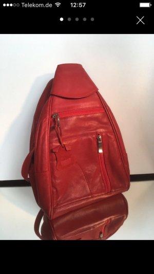 Roter ECHTLEDER Rucksack