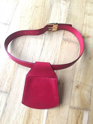 Louis Vuitton Lederen riem donkerrood Leer