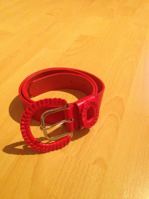 Faux Leather Belt red