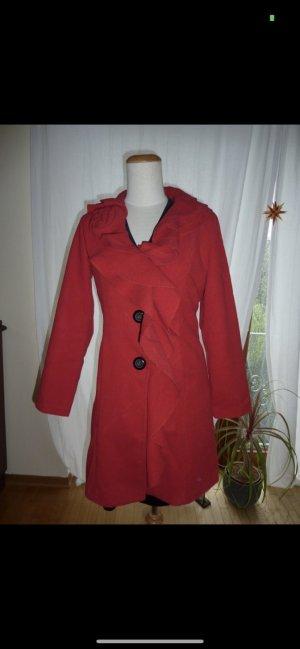 0039 Italy Manteau en laine rouge-rouge brique coton