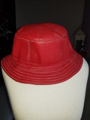 Cappello rosso scuro-rosso mattone Pelle