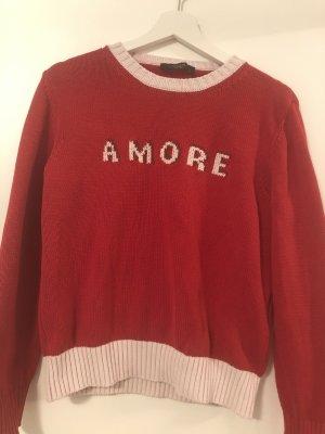 """Roter Max Mara Weekend-Pullover in Rot, Größe M, mit Schriftzug """"AMORE"""""""