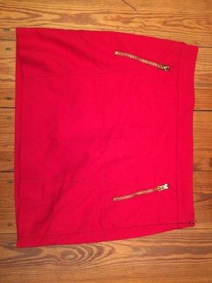 Roter Mini Rock von Mango Suit mit goldenen Details ♥ SOMMER ♥