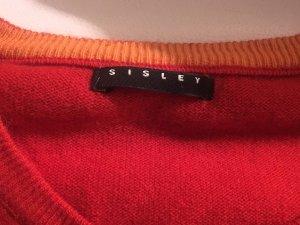 Roter Pulli mit orangefarbenem Stern und 3/4-Arm von Sisley in Größe ca. M/L