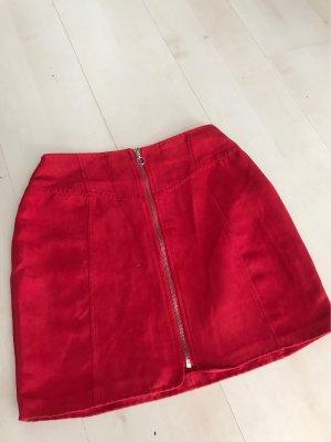 FB Sister Falda de cuero de imitación rojo claro