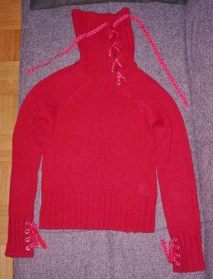 Roter Rollkragenpulli mit Schnürung u Metallösen, Wollpulli, enger Schnitt, S/M