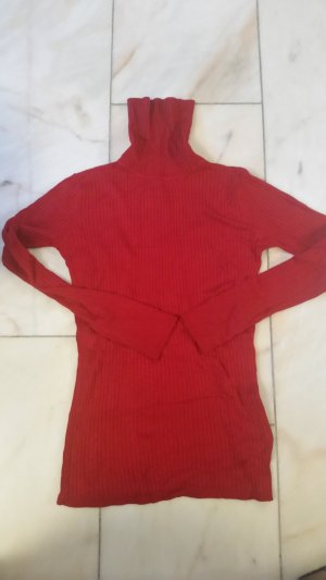 Hallhuber basic Pull-over à col roulé rouge