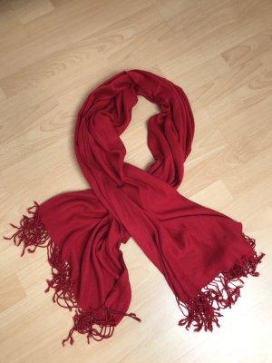 Sciarpa con frange rosso mattone-rosso scuro