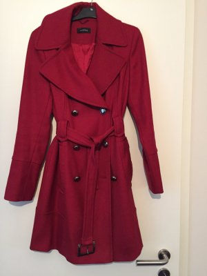 Roter Schurwolle Mantel Trenchcoat Style Wintermantel