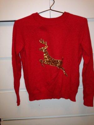 H&M Pull de Noël doré-rouge
