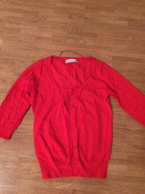 Roter Zara Cardigan mit 3/4 Arm und Knöpfen