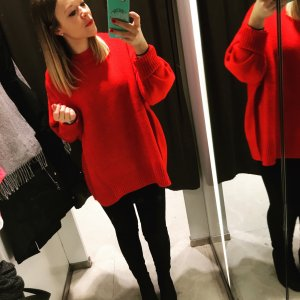 Roter ZARA Pullover S Oversized NEU