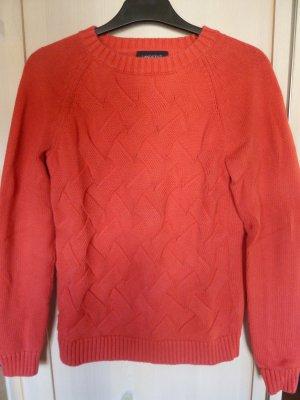 Roter Zopfstrick-Pulli aus Baumwolle