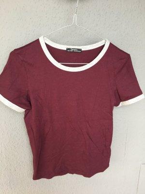 rotes Blogger T-Shirt mit grauem Rand