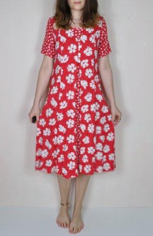 Rotes Blumen Kleid mit Floralen, Weißen Details