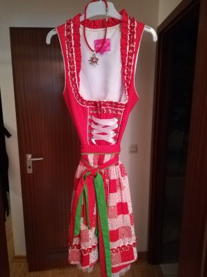 Krüger Vestido Dirndl blanco puro-rojo