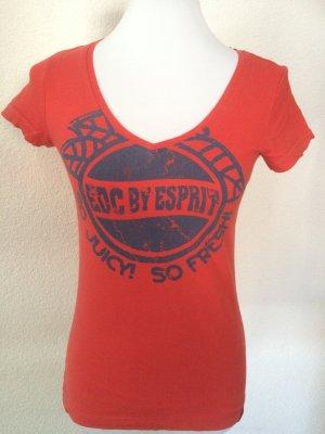 rotes EDC Shirt mit Aufdruck - Gr. XS