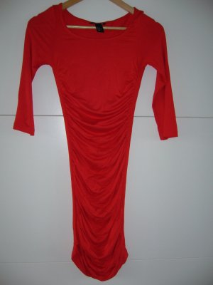 Rotes elegantes figurbetontes Jerseykleid Raffung 3/4 Arm H&M XS 34