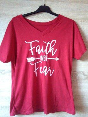 rotes faith over fear T-Shirt Größe S