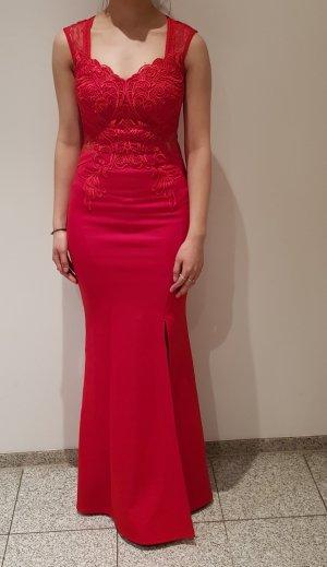 rotes figurbetontes Abendkleid/ Abiballkleid/ Maxikleid mit Rückendekolltee