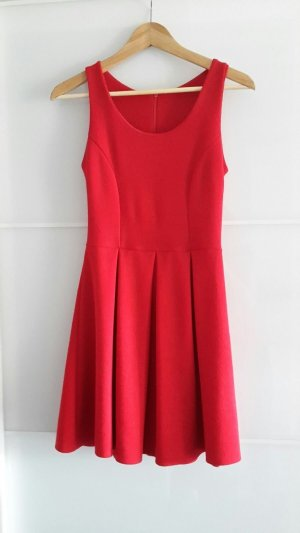 Rotes Fit and Flare Kleid XS S 34 36 Baumwolle Skater A-Linie A-Line