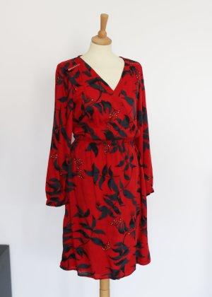 Rotes Fransa Blusenkleid mit floralem Muster S Neu