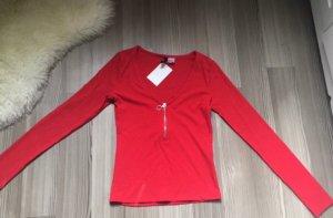 Rotes, geripptes Langarmshirt von H&M