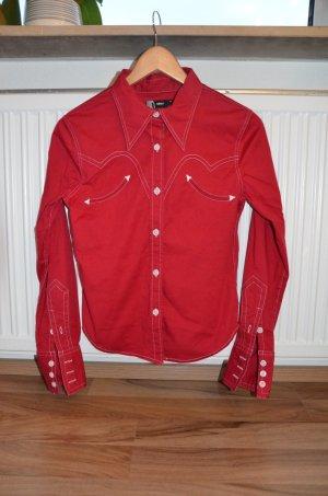 Only Chemise à manches longues rouge brique-blanc coton