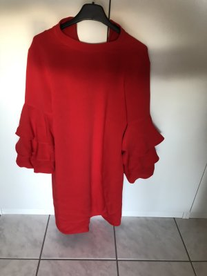 Zara Vestido de tela de jersey rojo-rojo ladrillo Algodón