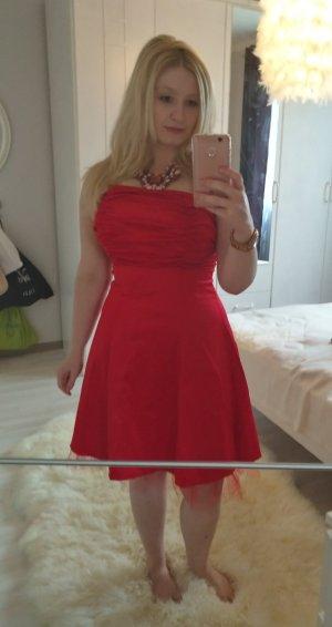 Rotes Kleid aus Satin, Abendkleid 36 38