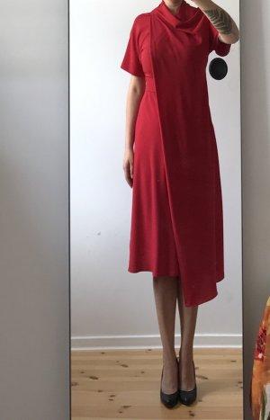 Topshop Midi Dress brick red polyester